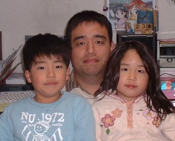 My Picture with MON(son) and YUMEKO(daughter)